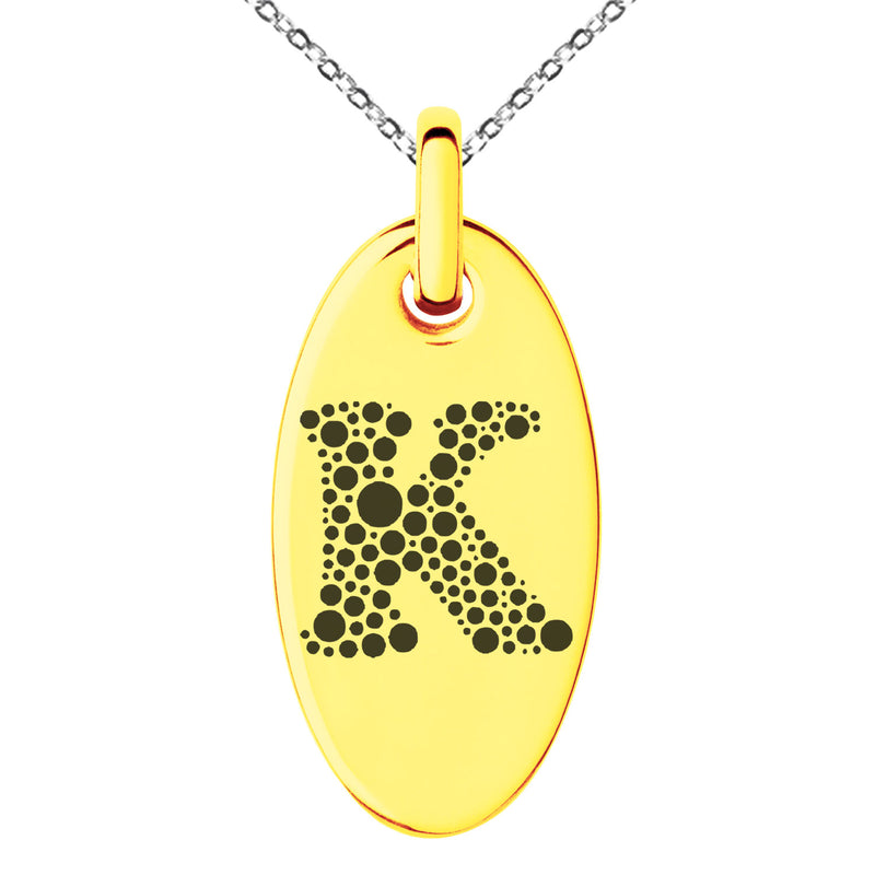 Stainless Steel Letter K Initial Dotted Monogram Engraved Small Oval Charm Pendant Necklace
