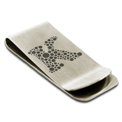 Stainless Steel Letter K Alphabet Initial Dotted Monogram Engraved Money Clip Credit Card Holder - Tioneer