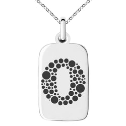 Stainless Steel Letter O Initial Dotted Monogram Engraved Small Rectangle Dog Tag Charm Pendant Necklace