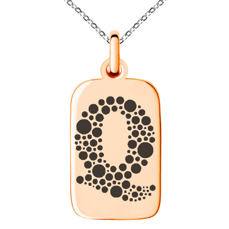 Stainless Steel Letter Q Initial Dotted Monogram Engraved Small Rectangle Dog Tag Charm Pendant Necklace
