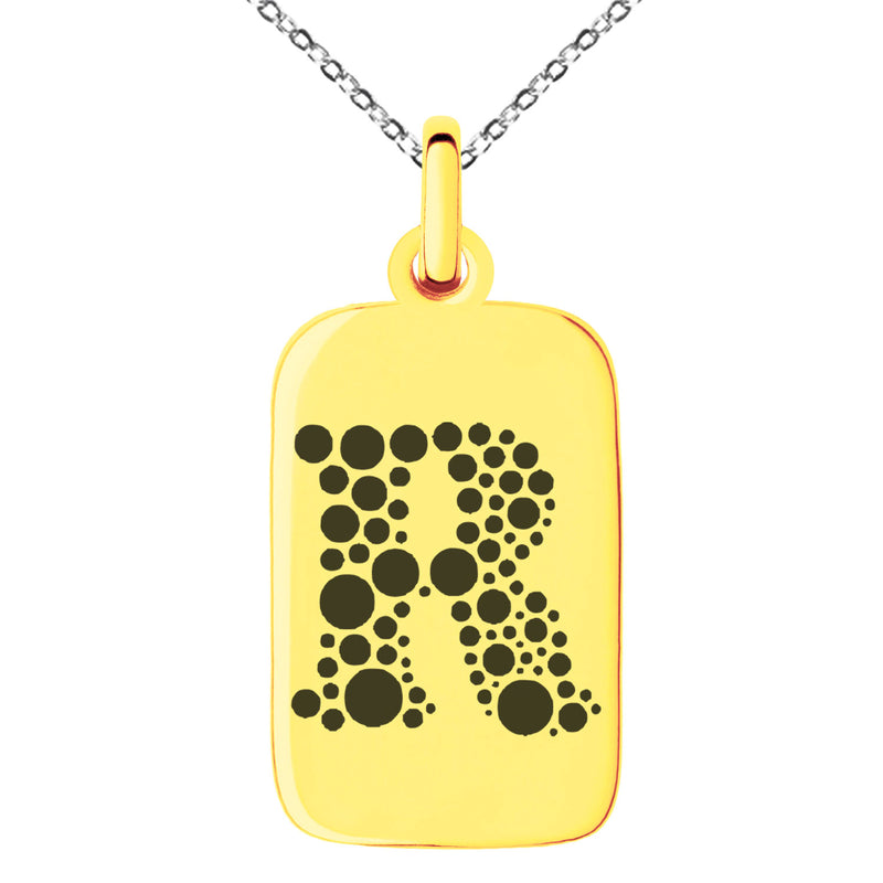 Stainless Steel Letter R Initial Dotted Monogram Engraved Small Rectangle Dog Tag Charm Pendant Necklace