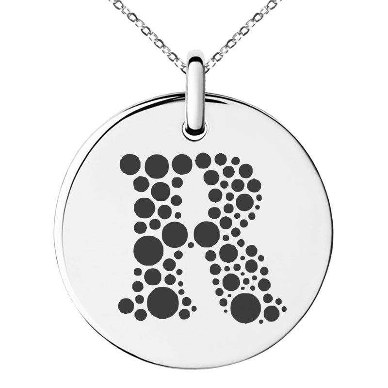 Stainless Steel Letter R Initial Dotted Monogram Engraved Small Medallion Circle Charm Pendant Necklace