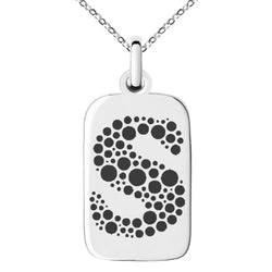 Stainless Steel Letter S Initial Dotted Monogram Engraved Small Rectangle Dog Tag Charm Pendant Necklace
