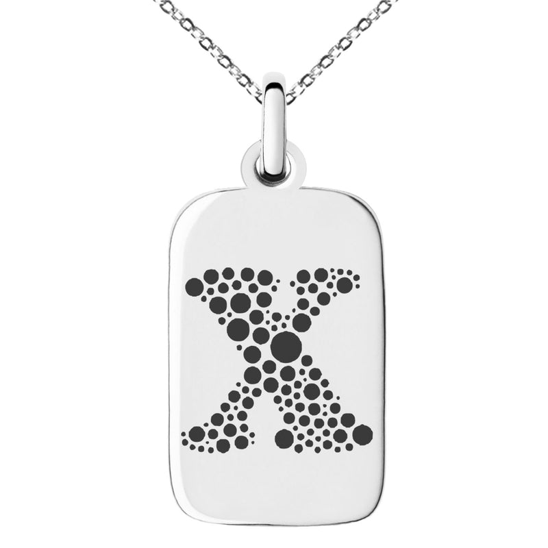 Stainless Steel Letter X Initial Dotted Monogram Engraved Small Rectangle Dog Tag Charm Pendant Necklace