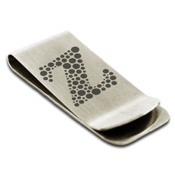 Stainless Steel Letter Z Alphabet Initial Dotted Monogram Engraved Money Clip Credit Card Holder - Tioneer