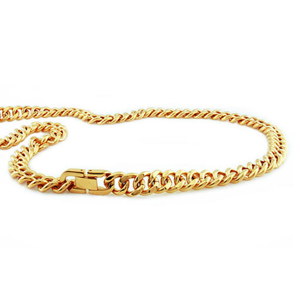 Gold Plated Stainless Steel Biker Curb Chain Link Necklace - Tioneer