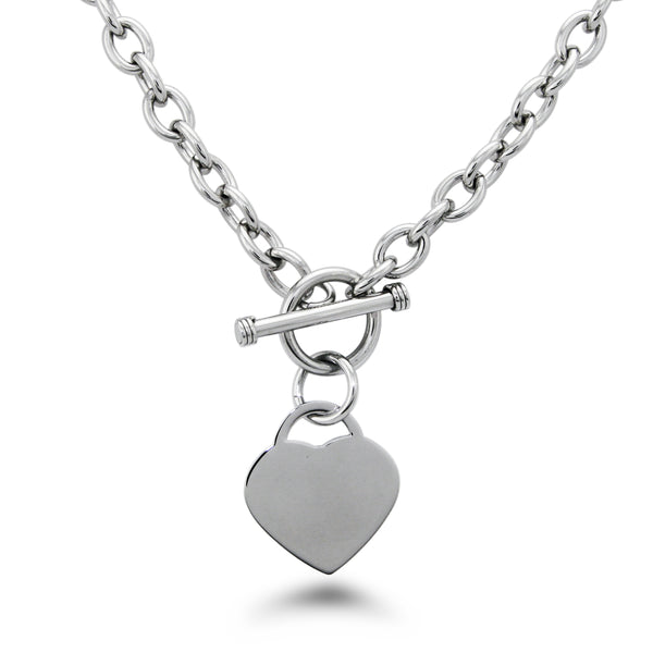Stainless Steel Engravable Heart Charm Toggle Link Necklace - Tioneer