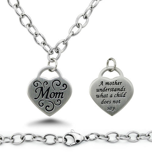 Stainless Steel Floral Mom Heart Charm Necklace - Tioneer