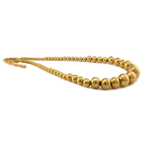 Gold Plated Stainless Steel Graduated Bead Ball Necklace - Tioneer