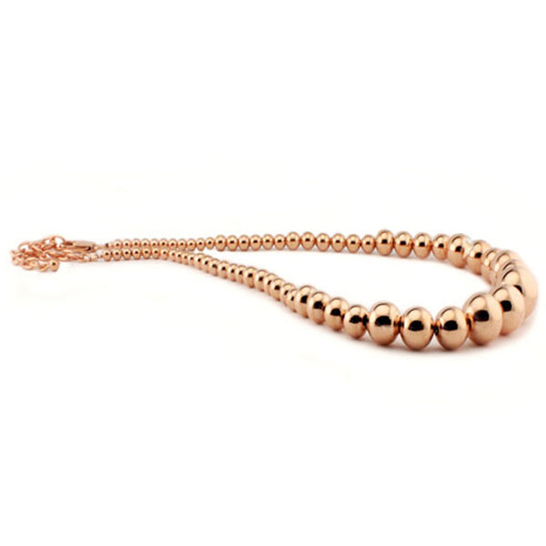 Rose Gold Plated Stainless Steel Graduated Bead Ball Necklace - Tioneer