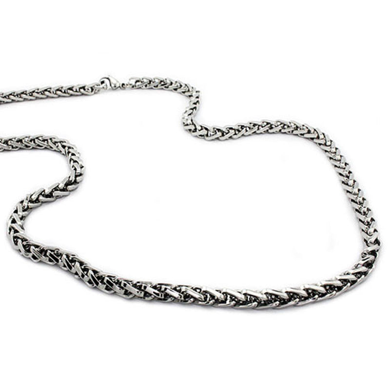 Stainless Steel Wheat Grain Chain Link Necklace - Tioneer