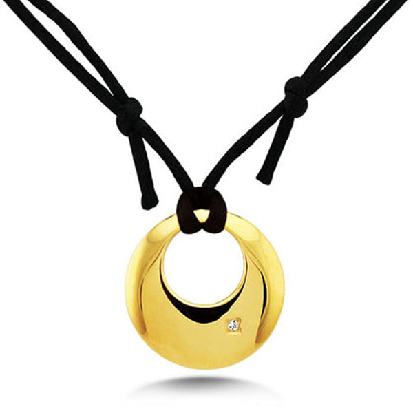 Gold Plated Stainless Steel Crescent Charm Cubic Zirconia Rope Cord Necklace - Tioneer