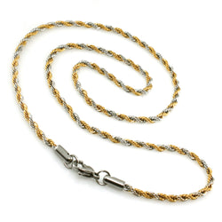 Two-Tone Stainless Steel Twisted Rope Necklace - Tioneer