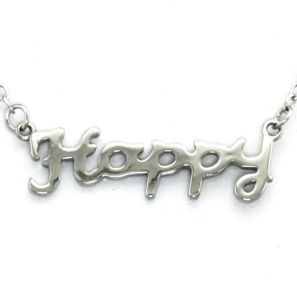 Stainless Steel Inspirational Happy Charm Necklace Pendant - Tioneer