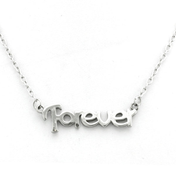 Stainless Steel Inspirational Forever Charm Necklace Pendant - Tioneer