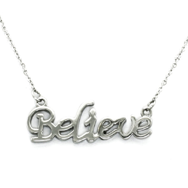 Stainless Steel Inspirational Believe Charm Necklace Pendant - Tioneer