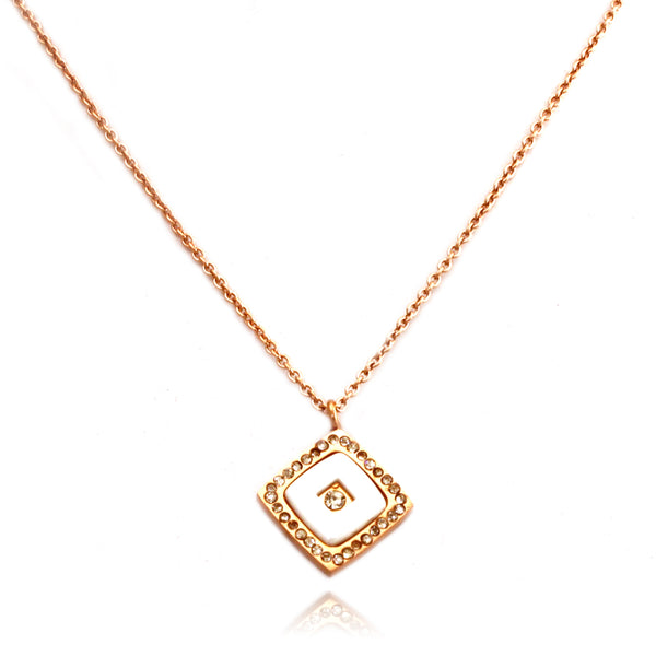 Rose Gold Plated Stainless Steel Square Ceramic Element Necklace Pendant - Tioneer