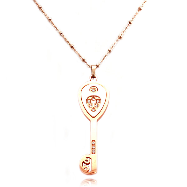 Rose Gold Plated Stainless Steel Ceramic Element Key Charm Necklace Pendant - Tioneer