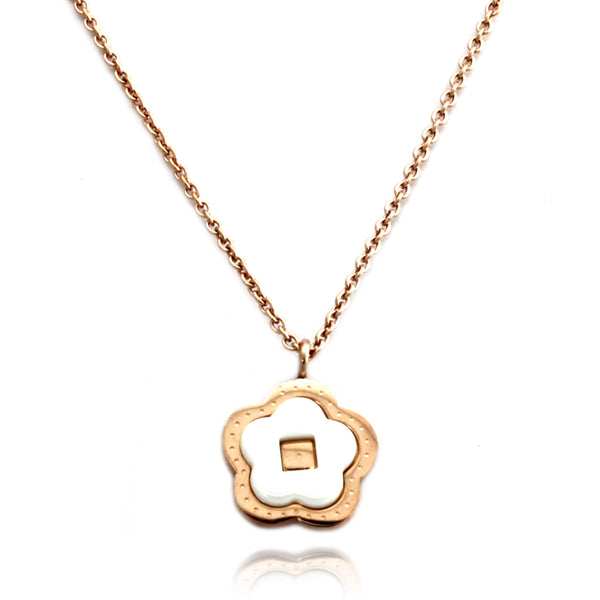 Rose Gold Plated Stainless Steel Ceramic Element Flower Charm Necklace Pendant - Tioneer
