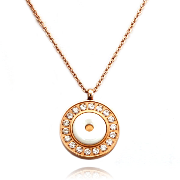 Rose Gold Plated Stainless Steel Ceramic Element Round Medallion Necklace Pendant - Tioneer