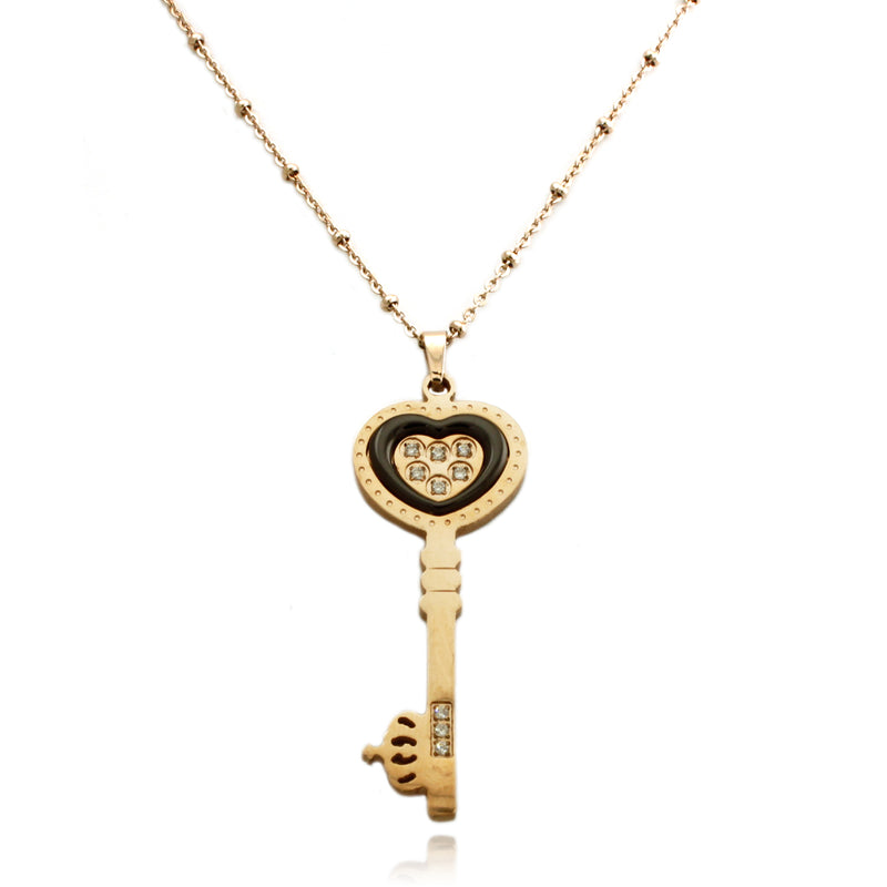 Rose Gold Plated Stainless Steel Ceramic Element Heart Head Key Charm Necklace Pendant - Tioneer