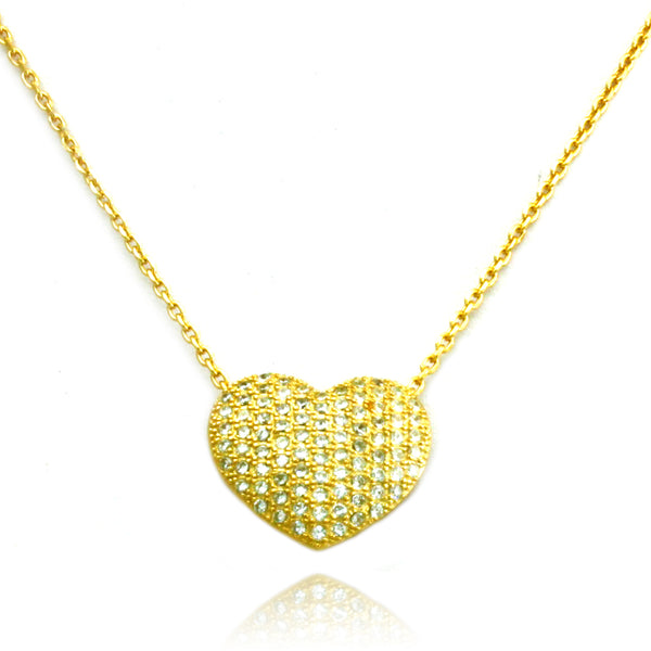 Gold Plated Sterling Silver Cubic Zirconia Heart Charm Necklace Pendant - Tioneer