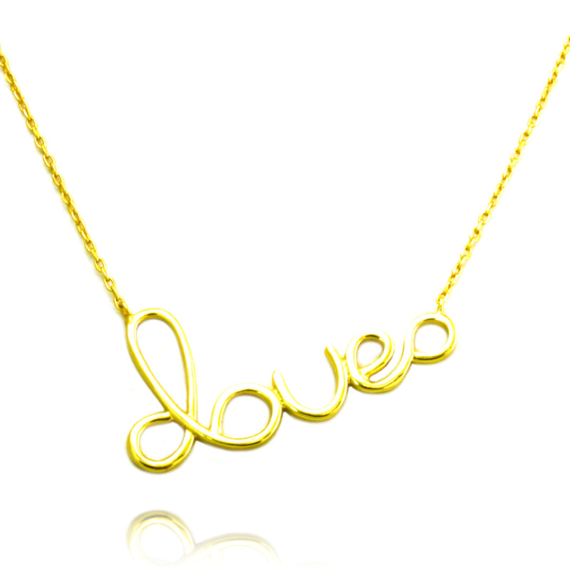Gold Plated Sterling Silver Love Charm Necklace - Tioneer
