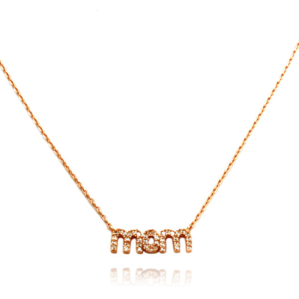 Rose Gold Plated Sterling Silver Cubic Zirconia Mom Charm Necklace - Tioneer