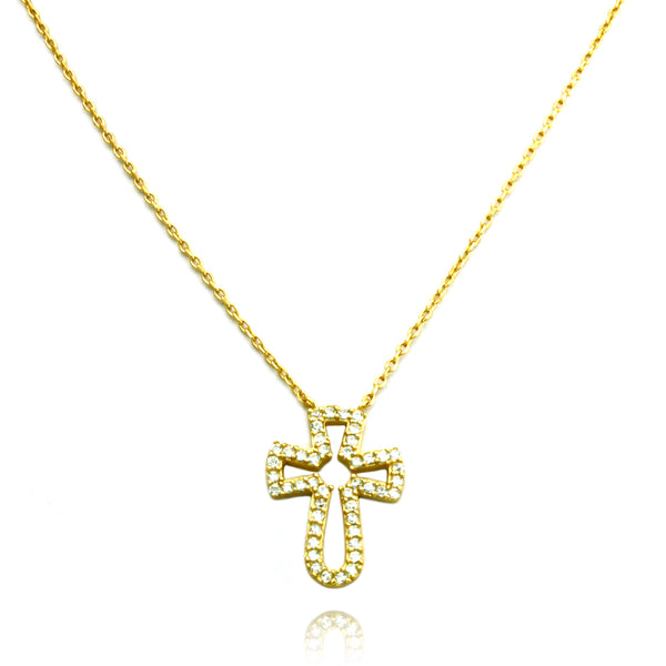 Gold Plated Cubic Zirconia Cross Charm Necklace Pendant - Tioneer