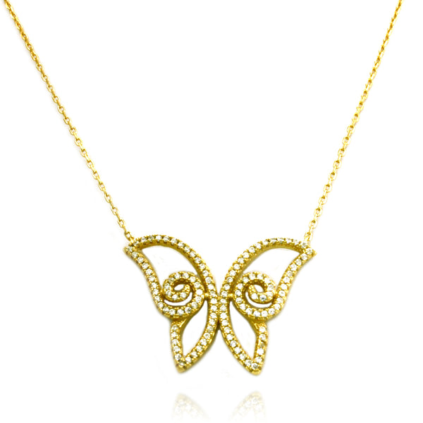 Gold Plated Sterling Silver Large Butterfly Necklace - Tioneer