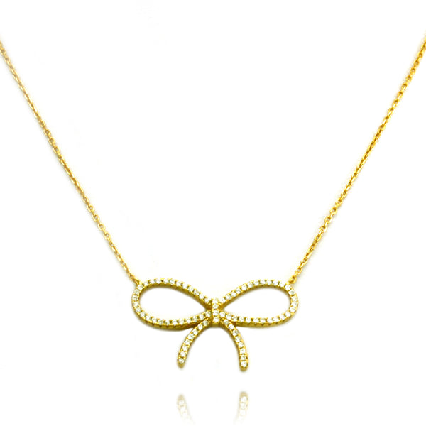 Gold Plated Sterling Silver Infinity Bow Necklace - Tioneer