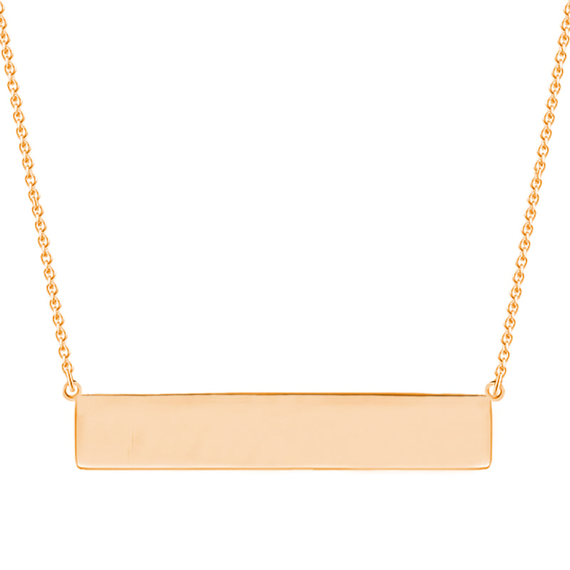 Sterling Silver Minimalist Engravable Horizontal Bar Necklace - Tioneer