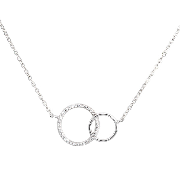 Sterling Silver Floating Interlocking Two-Circles Cubic Zirconia Unity Charm Necklace Pendant - Tioneer