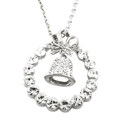 Swarovski Elements Christmas Wreath & Bell Fashion Pendant Necklace - Tioneer