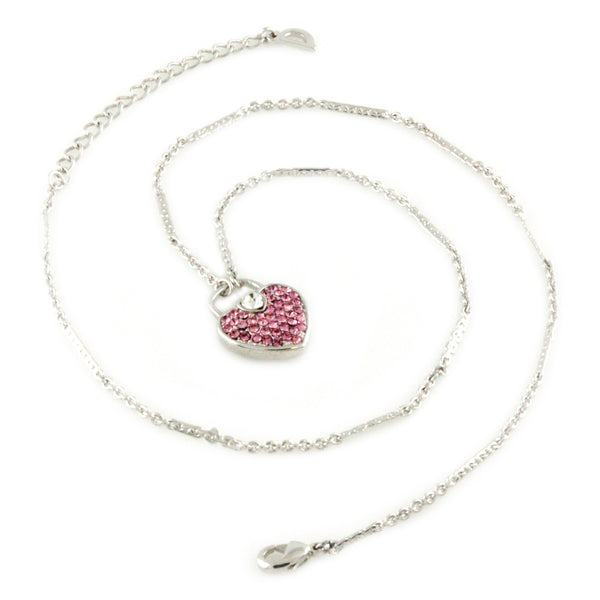 Swarovski Elements Pink Heart Lock Charm Fashion Pendant Necklace - Tioneer