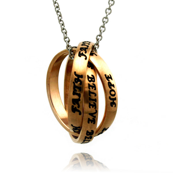 Stainless Steel Faith Hope Believe Intertwined Ring Pendant Necklace - Tioneer
