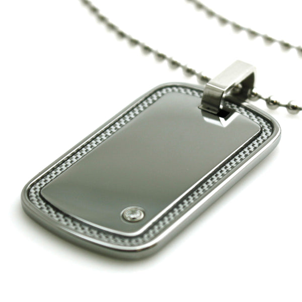 Tungsten Carbon Fiber Border Inlay Dog Tag Pendant Necklace - Tioneer