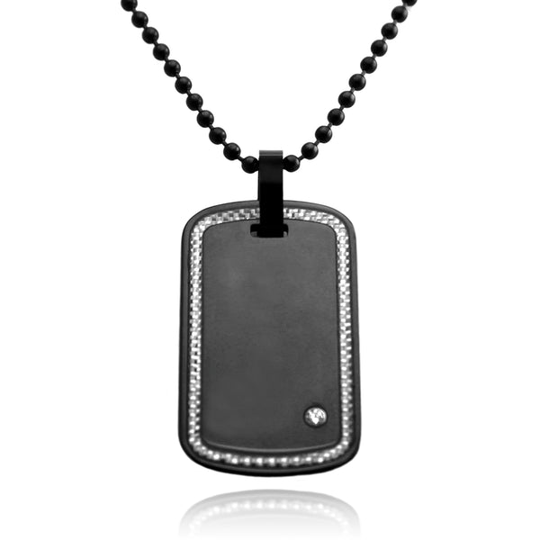 Black Tungsten Carbon Fiber Border Inlay Dog Tag Pendant Necklace - Tioneer