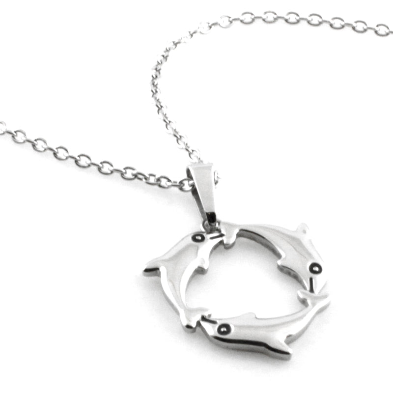 Stainless Steel Friendship Inspirational Dolphin Charm Pendant Necklace - Tioneer