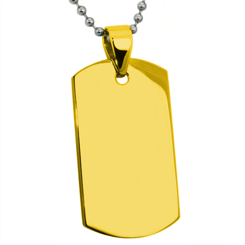 Stainless Steel Engravable Dog Tag Pendant Necklace - Tioneer