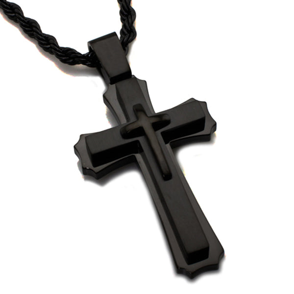 Black Stainless Steel Concentric Classic Cross Pendant Necklace - Tioneer