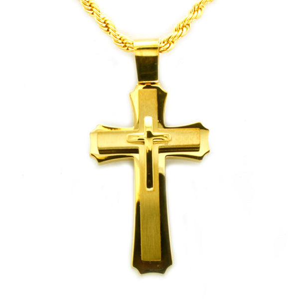 Gold Plated Stainless Steel Concentric Classic Cross Pendant Necklace - Tioneer