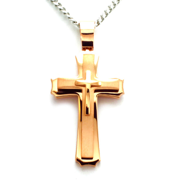 Rose Gold Plated Stainless Steel Concentric Classic Cross Pendant Necklace - Tioneer