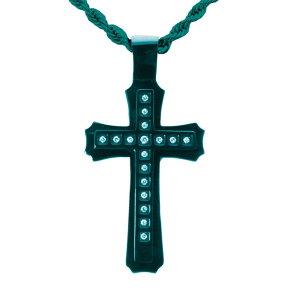 Blue Stainless Steel Cubic Zirconia Concentric Cross Pendant Necklace - Tioneer