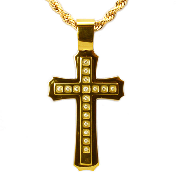 Gold Plated Stainless Steel Cubic Zirconia Concentric Cross Pendant Necklace - Tioneer