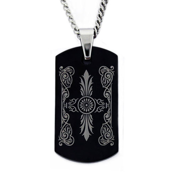 Black Stainless Steel Greek Pattern Dog Tag Pendant Necklace - Tioneer