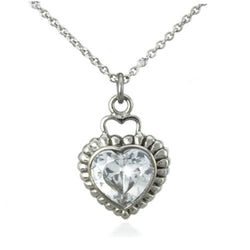 Stainless Steel Cubic Zirconia Heart Charm Pendant Necklace - Tioneer