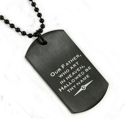 Black Stainless Steel Lord's Prayer 0.005 CTW Diamond Dog Tag Pendant - Tioneer