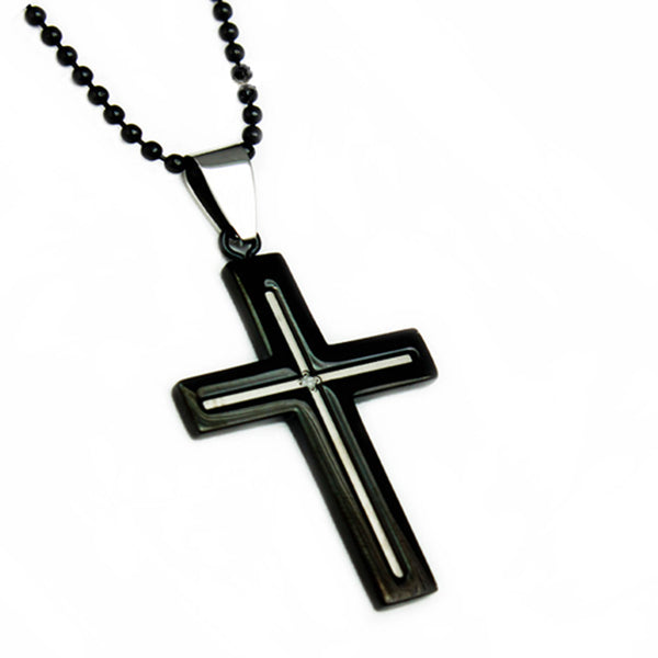 Two-Tone Stainless Steel Classic Cross 0.01 CTW Diamond Pendant Necklace - Tioneer