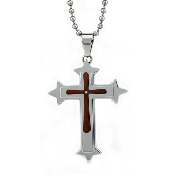 Two-Tone Stainless Steel 0.01 CTW Diamond Roman Cross Pendant Necklace - Tioneer